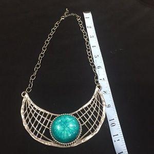 Silver tone metal alloy bib style necklace
